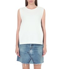 Izzue Constrast Band Cotton Top White