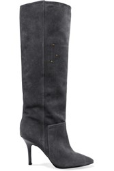Jerome Dreyfuss Louise Suede Knee Boots Charcoal