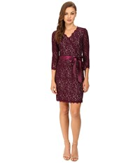 Adrianna Papell Long Sleeve Wrap Front Lace Cocktail Dress Mulberry Nude Women's Dress Purple