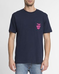 Obey Blue The Creeper Print Chest Pocket T Shirt