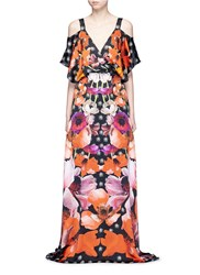 Temperley London 'Myrtle' Poppy Print Cold Shoulder Silk Dress Multi Colour