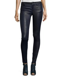 Alice Olivia Angie 5 Pocket Leather Leggings Navy