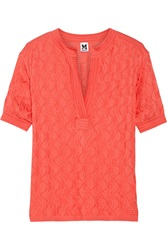M Missoni Crochet Knit Cotton Blend Top Orange