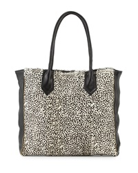 Lauren Merkin Reese Leather Calf Hair Tote Bag White Black