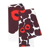 Marimekko Unikko Tea Towel Pack Of 2 Red Plum