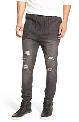 I Love Ugly 'Zespy' Moto Denim Jogger Pants Denim Black