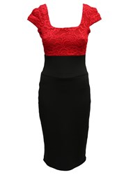 Feverfish Lace Contrast Bodycon Dress Red