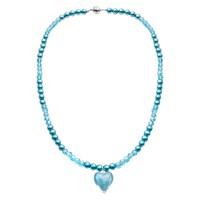 Martick Glass Heart And Faux Pearl Pendant Necklace Blue