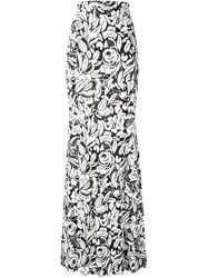 Blumarine Rose Print Maxi Skirt White