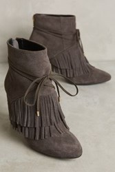 Anthropologie Bacio Fringe Booties Dark Grey