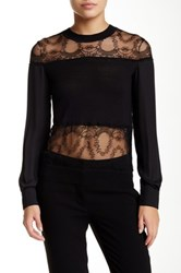 Yigal Azrouel Silk Lace Inset Pullover Black