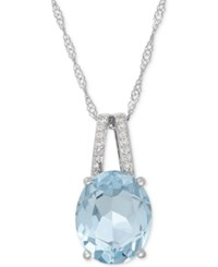 Macy's Aquamarine 2 1 5 Ct. T.W. And Diamond Accent Pendant Necklace In 14K White Gold