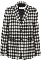 Max Mara Checked Textured Felt Blazer Black