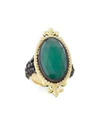 Armenta Oval Green Onyx And Black Diamond Ring Size 6.5