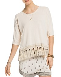 Scotch And Soda Fringed Cotton Tee Off White