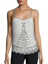Saks Fifth Avenue Embellished Scalloped Tank Ivory