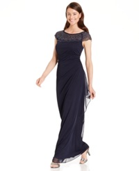 Msk Embellished Side Ruffle Gown Navy