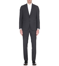 Paul Smith Striped Single Breasted Regular Fit Wool Suit Char Brn