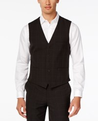 Inc International Concepts Men's Classic Fit Windowpane Check Vest Only At Macy's Black