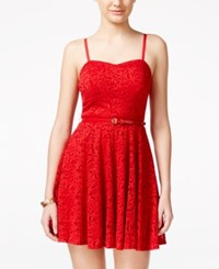 As U Wish Juniors' Floral Lace Fit And Flare Party Dress With Belt Red