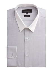 Limehaus Plain Slim Fit End On End Formal Shirt Grey