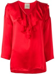 Nude Ruffled Blouse Red