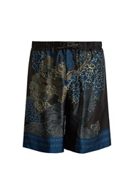 Meng Floral And Bird Print Silk Satin Pyjama Shorts Multi