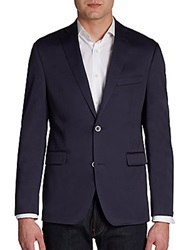 Saks Fifth Avenue Red Two Button Slim Fit Cotton Sportcoat Navy