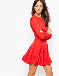 Fallen Star Fit And Flare Dress With Full Skirt Red