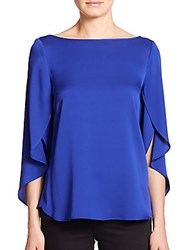 Milly Stretch Silk Butterfly Blouse Blue