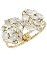 Inc International Concepts Gold Tone Rhinestone Cluster Hinge Bracelet Only At Macy's