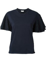 See By Chloe Fil Coupe Sleeve T Shirt Blue