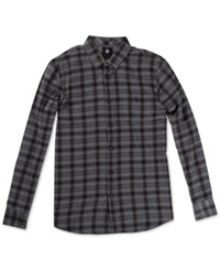 Element Bunker Plaid Long Sleeve Button Down Shirt Charcoal