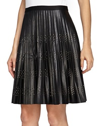 Catherine Malandrino Pleated Fit And Flare Faux Leather Skirt Noir
