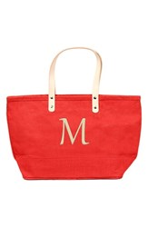 Cathy's Concepts 'Nantucket' Monogram Jute Tote Red Red M