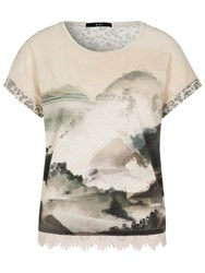 Oui Printed Lace Trim T Shirt Shell