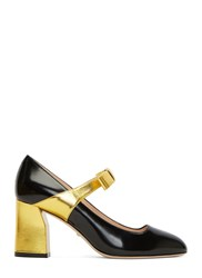 Gucci Metallic Block Heeled Mary Jane Pumps Black
