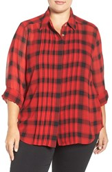 Foxcroft Plus Size Women's Buffalo Plaid Pintuck Pleat Blouse