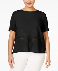 Monteau Plus Size Short Sleeve Embroidered Blouse Black