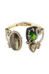 Alexis Bittar Open Front Cuff With Crystals Gold