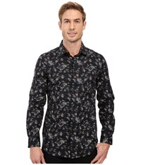 Perry Ellis Slim Fit Multicolor Camo Print Shirt Black Men's Long Sleeve Button Up