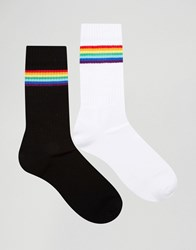 Asos Sports Style Socks With Rainbow Design 2 Pack White