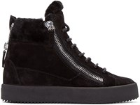 Giuseppe Zanotti Black Suede London High Top Sneakers