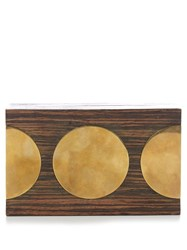 Stella Mccartney Circle Detail Wooden Box Clutch Brown Multi