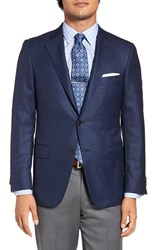 Hickey Freeman Men's Big And Tall Classic Fit Check Wool Sport Coat Navy