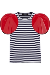 Junya Watanabe Faux Patent Leather Trimmed Striped Jersey T Shirt