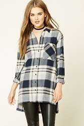 Forever 21 Longline Plaid Flannel Shirt Cream Grey