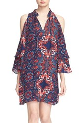 Women's Parker 'Anastasia' Cold Shoulder Paisley Silk Shift Dress