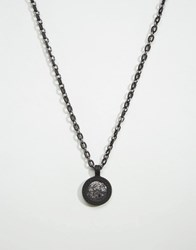 Icon Brand Medallion Coin Necklace In Black Exclusive To Asos Black
