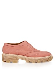 Balenciaga Exposed Stitch Leather Lace Up Shoes Light Pink